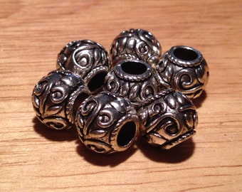 Filigree pattern Paracord spacer/barrel big hole bead, for European style type bracelet/necklace. 10 or 25 qty