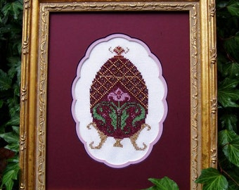 """Cross Stitch Instant Download Pattern """"Crimson Treasure"""" Counted Embroidery Chart Ornamental Decorative Egg Design Easter Holiday X Stitch"""