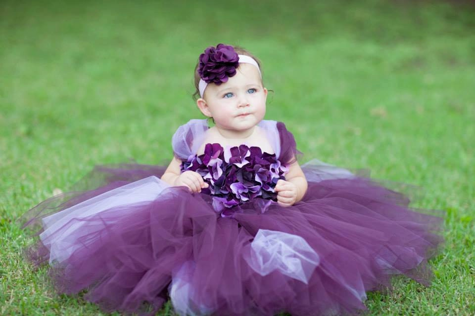 Flower girl dress Deep Purple and Lavender tutu dress flower
