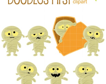 Halloween Mummies Clip Art for Scrapbooking Card Making Cupcake Toppers Paper Crafts