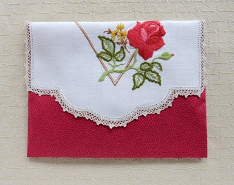 Lingerie Bag Liberty of London Fabric Embroidered Vintage Doily Dark Pink Rose