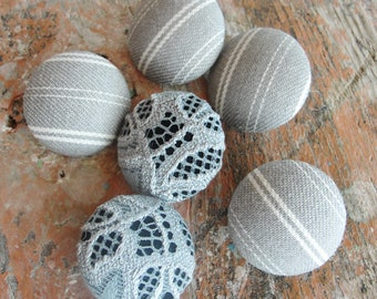 Cotton Ticking and Lace Buttons - Fabric Covered Buttons - Vintage  Cotton Ticking - 6pc