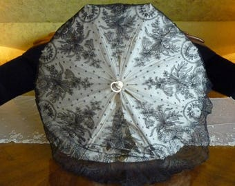 1860 Antique Parasol, Folding Carriage Parasol, antique umbrella, Victorian Parasol