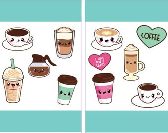 Coffee Stickers, Coffee Planner Stickers, Kawaii Stickers, Printable Stickers
