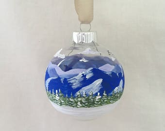 Blue Ridge Parkway Winter Scene, Hand Painted Glass Ornament