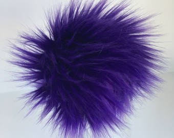 Luxury Royal Purple Faux Fur Pom Pom