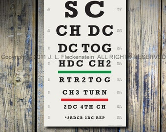 SALE: 40% OFF Crocheter's Eye Chart (TM) Crocheter Gift Idea As seen in Molly Makes magazine 12 x 18 Art Print