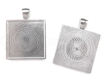 "50 Pk - 1"" Square Pendant Trays - Shiny Silver Color - Pendant Blanks Bezel Settings Craft Custom Jewelry -  25mm 1 Inch"