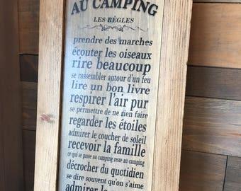 """Plaque """"Les Règles Au Camping"""""""