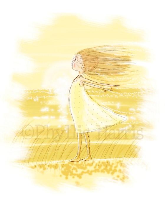 Girls Wall Art Print Little Girl in Wind Girl\'s room