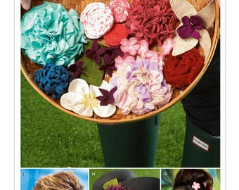 McCall's M6763 Misses' Hair Accessories Flowers and Rosettes Pattern, Multiple Sizes, New, Uncut Pattern, Factory Folds