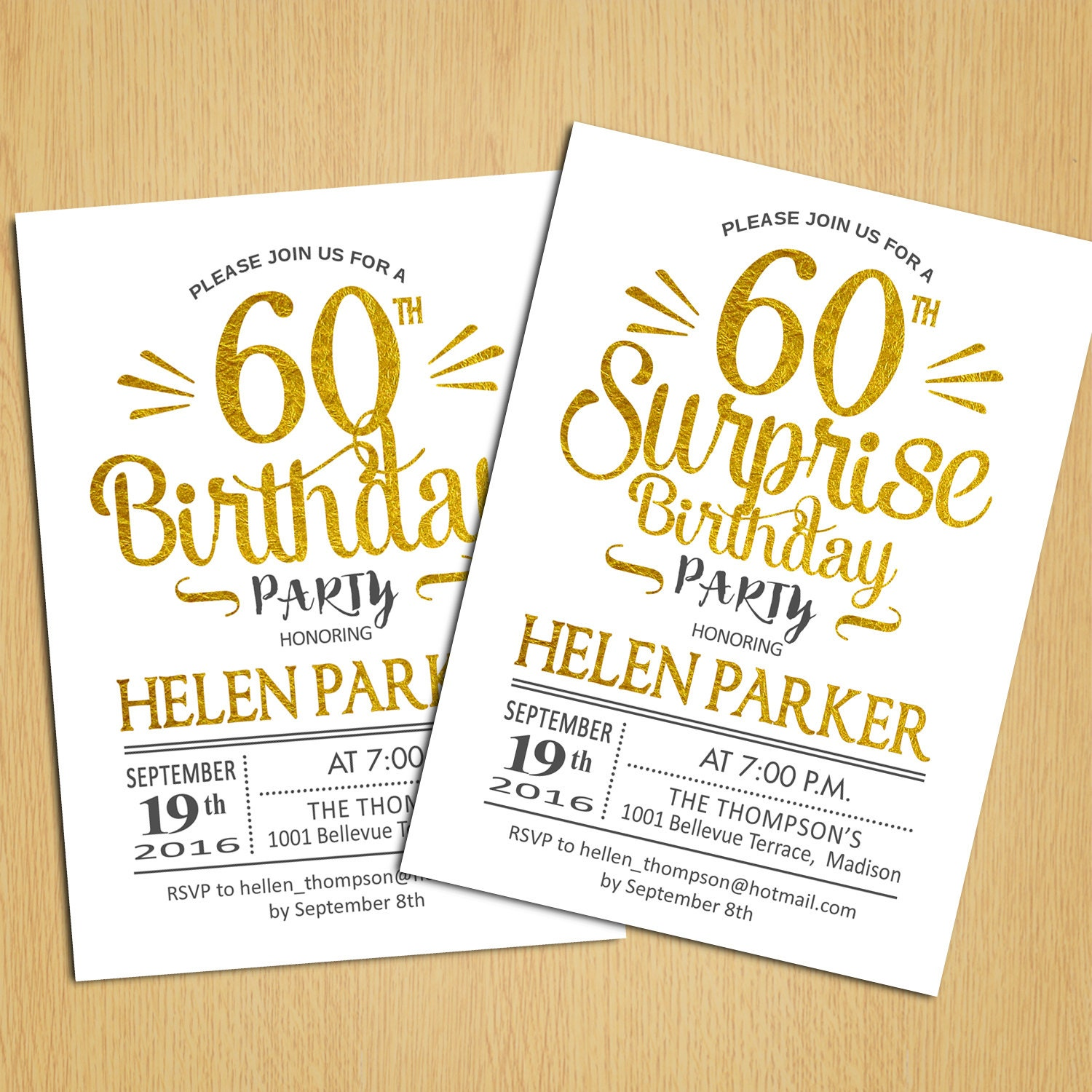 Surprise 60th Birthday Invitation / Any Age / Gold White /