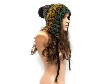Hat Gift Women - Mixed Green Pom Pom Hat Slouchy Womens Ear Flap Knit Beanie - Charlotte - READY TO SHIP