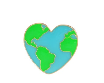 Heart Shaped Earth Lapel Pin