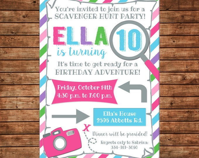 Girl Invitation Scavenger Hunt Map Camera Birthday Party - Can personalize colors /wording - Printable File or Printed Cards