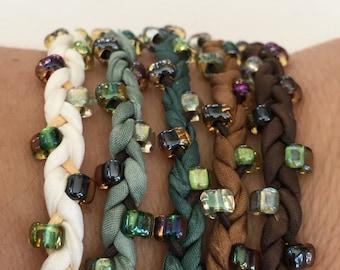 DIY Silk Wrap Bracelet or Silk Cord Kit DIY Craft Kit You Make Five Adult Friendship Bracelets in Simple Nature Palette