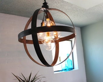 Large Sphere Pendant in Aged Zinc or Black Finish free shipping kitchen light dining room light round light kitchen chanelier steel rings