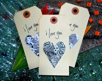 Gift Tags. Black and White Hearts on vintage tags. Anniversary, birthday, Valentine's Day gift tags.