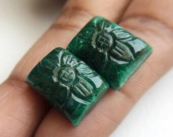 OOAK Beryl Hand Carving, Original Beryl Gemstone, Matched Pair Carving, Earring Carving, Finding, Emerald Beryl Jewelry, 12x16mm - AUSPH30