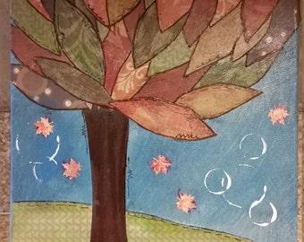 Mixed Media Autumn Tree, Fall Home Decor, Nature Art, Office Decor, Whimsical Collage Tree