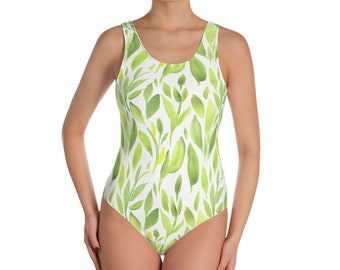 Leaf Print One piece Swimsuit, Green Bathing suit for beach, Summer Bathing Costume, Modest swimwear, Swimsuit Women