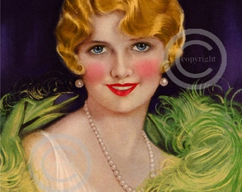 Art Deco Jazz Age print, Earl Christy Girl, Flapper Feathers, Bobbed Hair Wave, Blonde, Art Deco Pearls, Wall Decor, Giclee Art, 11x14, 1927