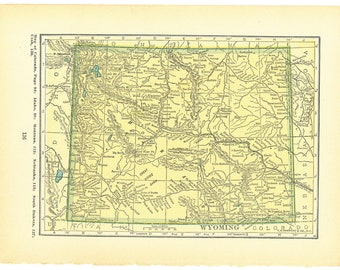 1927 Atlas of the World Vintage Map Pages (Wisconsin map on one side and Wyoming map on one side)