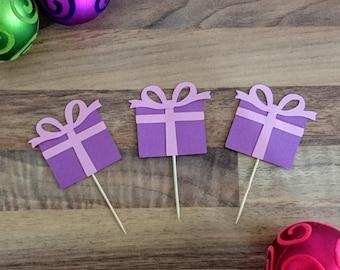 Christmas Cupcake topper, Purple present Cupcake topper, Christmas Cake topper, Modern Christmas decoration, Cupcake topper