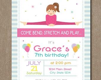 Yoga Birthday Invitation, Yoga Invite, printable