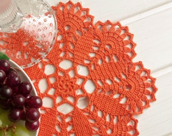 Orange crochet doily Crochet doilies Home decor Table decor Orange lace doily Tangerine doily 322