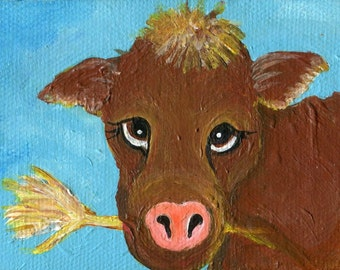Mini canvas art, Cow acrylic painting  Calf Mini Painting on canvas Original Cow Art, easel, Baby Cow munching hay, cute animal art