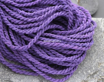 deep purple matte cord silk  twisted - hand made organic rope turkish jewelry supplies findings   MO6