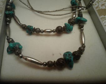 Vintage Handmade Double Strand Southwestern Necklace of Faux Turquoise and White Metal Beads