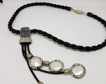 Black white choker necklace