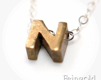 N - Initial Letter Necklace Pendant - Vintage Brass on Sterling Silver Chain - Free US Shipping