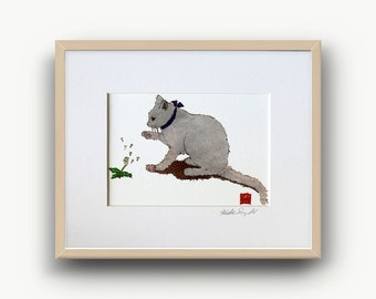 White Cat Print, Cat Lover Prints, Cat Gifts, White Cat Art, Minimalist Cat, Ready to Frame