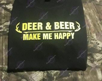 Deer and Beer make me happy tee shirt