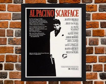 Framed Scarface Al Pacino Cult Crime Movie / Film Poster A3 Size Mounted In Black Or White Frame