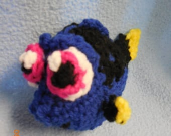 Crochet Stuffed Baby Tang Fish Inspired by Baby Dory from Finding Dory