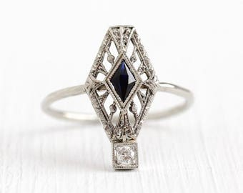 Sale - 1920s Filigree Ring - Antique 14k White Gold Diamond Created Blue Sapphire Pin Conversion - Vintage Art Deco Size 6 Fine Jewelry