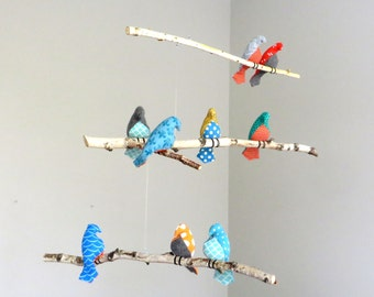 Bird Mobile - Multicolor Fabric Birds on Natural Branches - Made to order