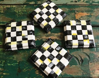 whimsical coasters/checked coasters/whimsical check design/wooden coasters