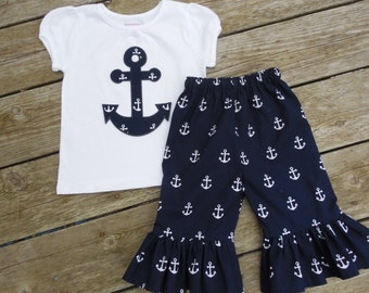 Girl's Personalized Shirt and Ruffle Pants - Navy with White Anchors Photo shoot Family Pictures