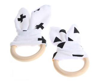 Bunny teething ring.  Bunny ears, wooden teething ring, baby gift, christening gift, newborn gift. Monochrome
