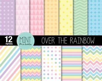 Rainbow Digital Paper, Pastel Rainbow Coloured Colored Scrapbooking Paper, Printable Sheets, Polka dots, Chevron - BUY 2 GET 1 FREE!