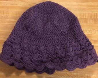 Crochet purple sun hat