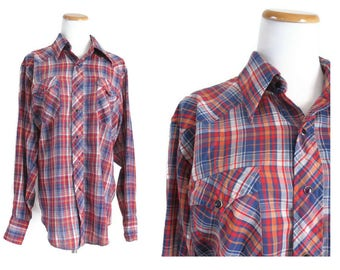 Wrangler Plaid Shirt Button Down Up Western Shirt Snap Buttons 1970s 70s Size Large L XL Men's Red Blue Plaid Hipster Indie