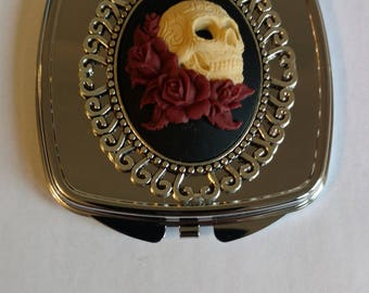 Maroon or Purple Skull & Roses Double sided compact mirror.