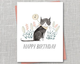 Birthday Kitty Notecard Instant Download PDF