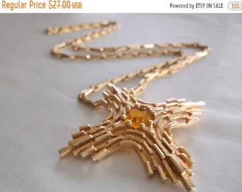 SALE Vintage Retro SARAH COVENTRY Amber Rhinestone Gold Tone Maltese Cross Long Necklace Jewelry Gift